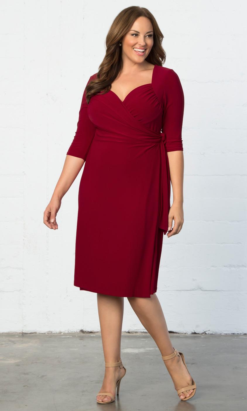 Plus size cocktail dresses sweetheart knit wrap dress sale for Plus size wedding dresses online usa