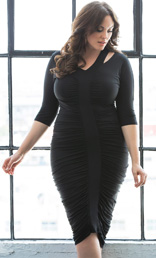 Riveting Ruched Dress, Black Noir (Women's Plus Size) kiyonna clothing