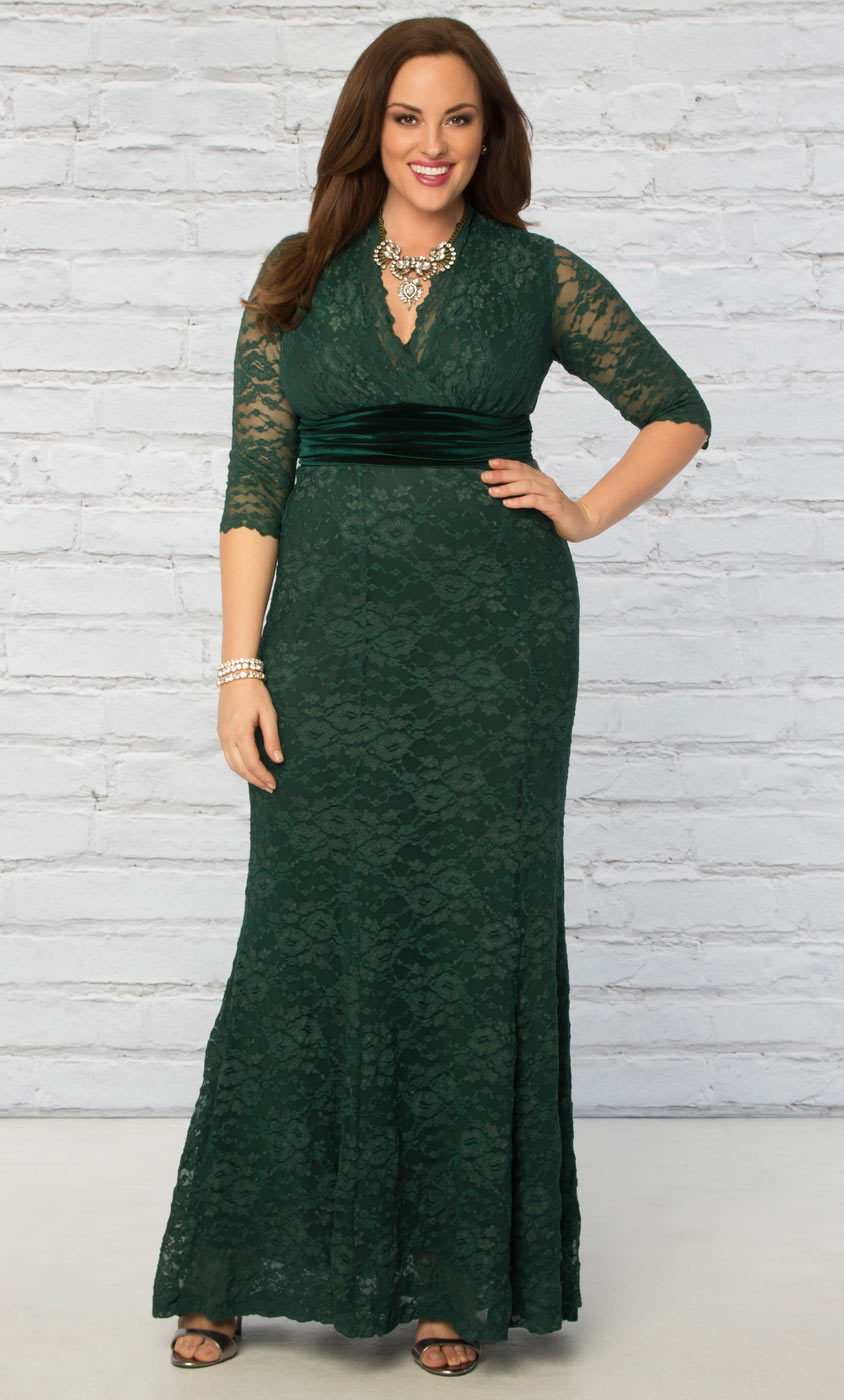 Plus size evening gown luxurious lace gown for Plus size wedding dresses online usa