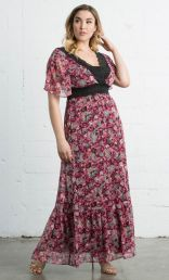 Daydream Maxi Dress) , Pink Floral Print (Women's Plus Size