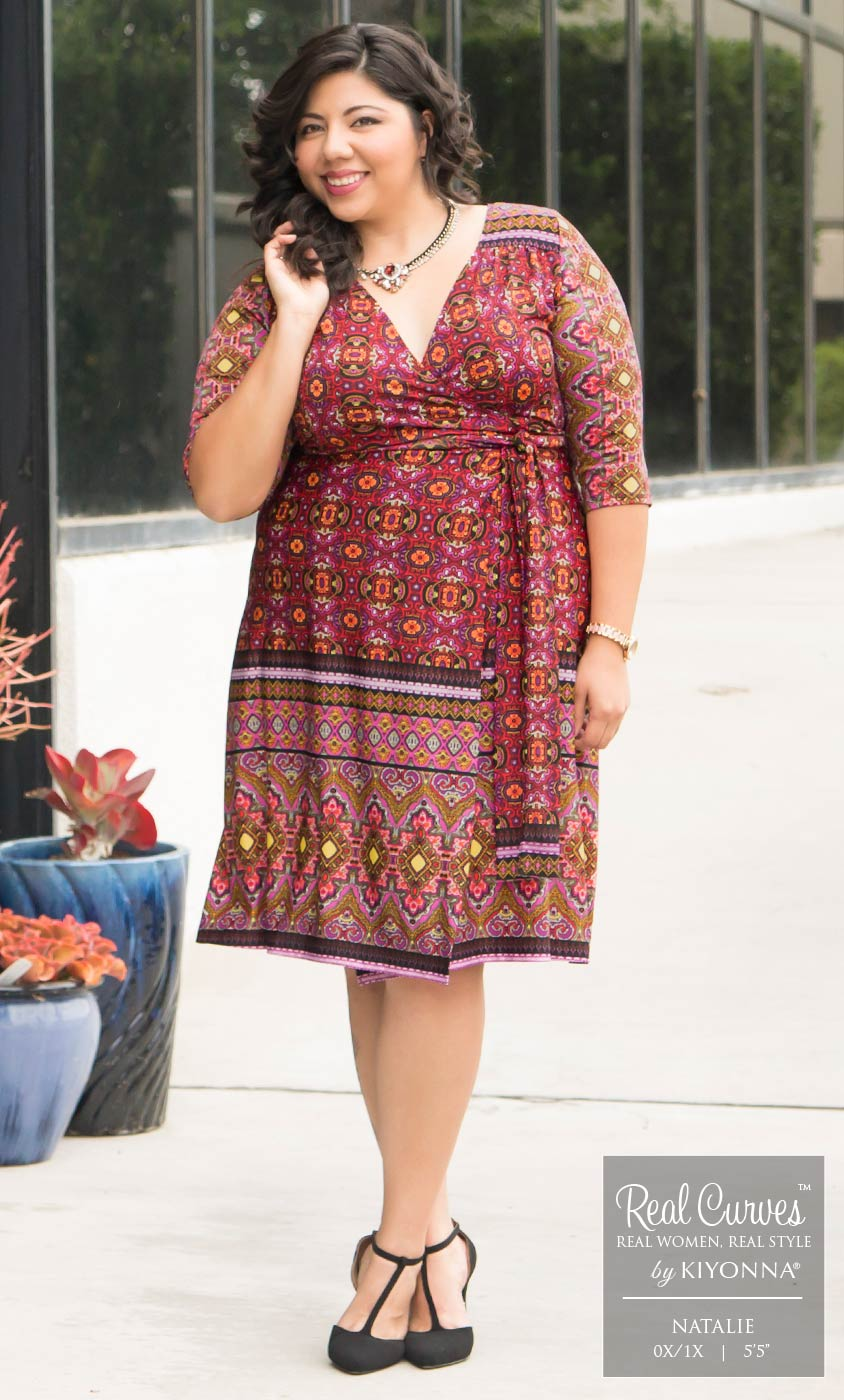 c845f347bc147 Plus Size Women s Clothing Real Curves for Beguiling Border Wrap Dress-Sale!