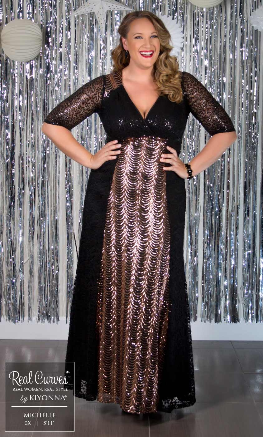 plus size gatsby dress   plus size sequin gown   kiyonna