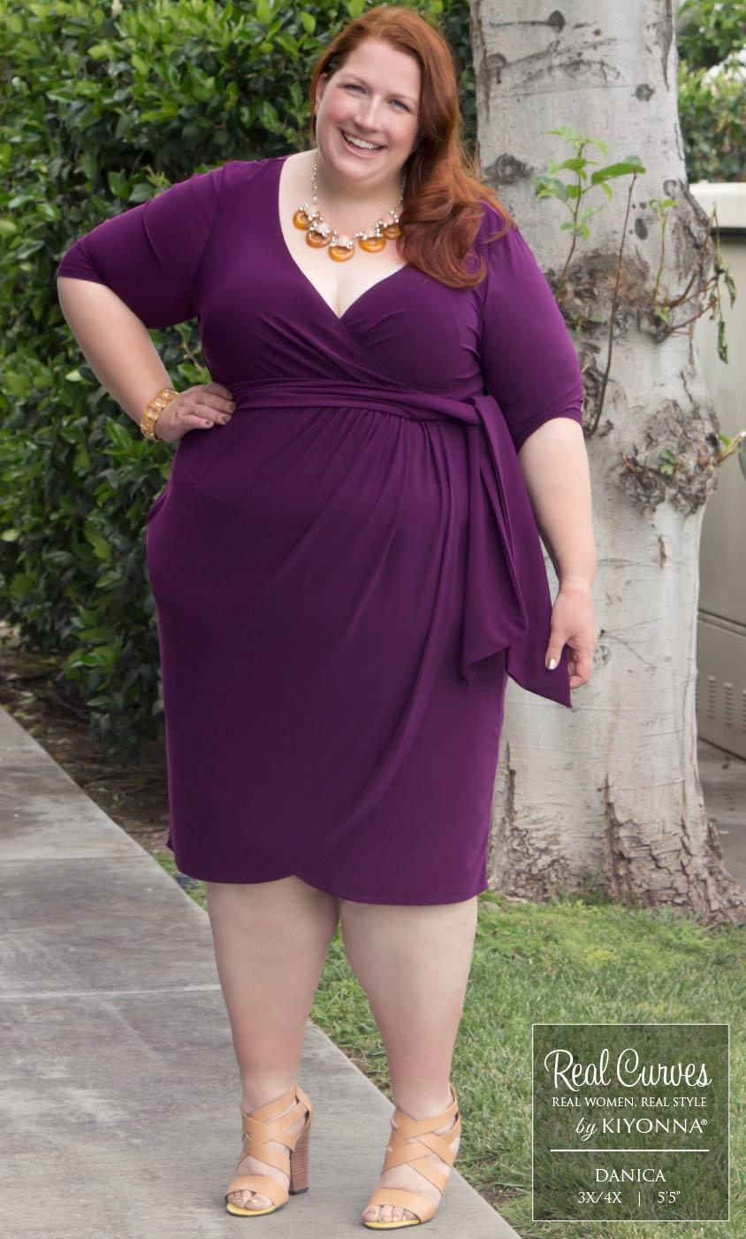 40bc9a24ccb Plus Size Knee Length Dress Solid Color Wrap