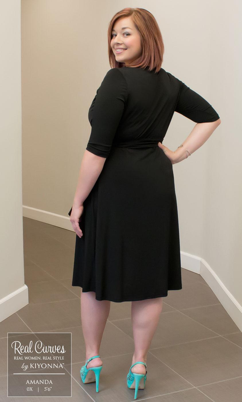 Sweetheart Knit Wrap Dress: Kiyonna Clothing