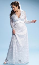 Analisa Long Lace Wedding Dress, White (Womens Plus Size)