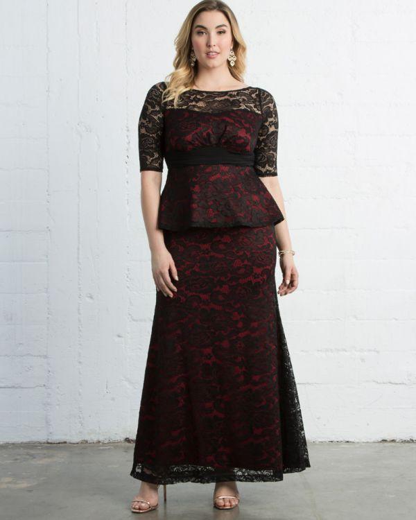 75d598acc21 Astoria Lace Peplum Gown by Kiyonna