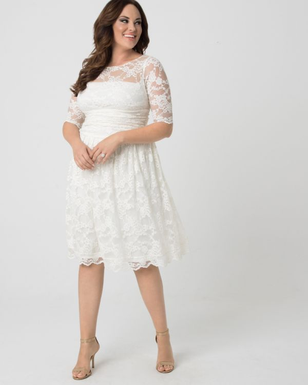 Plus Size Short Lace Wedding Dress | Midi Lace Dress with Sleeves