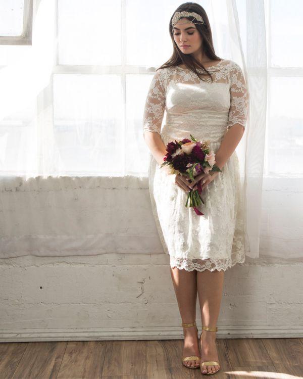 Aurora Lace Wedding Dress, Ivory (Women's Plus Size)