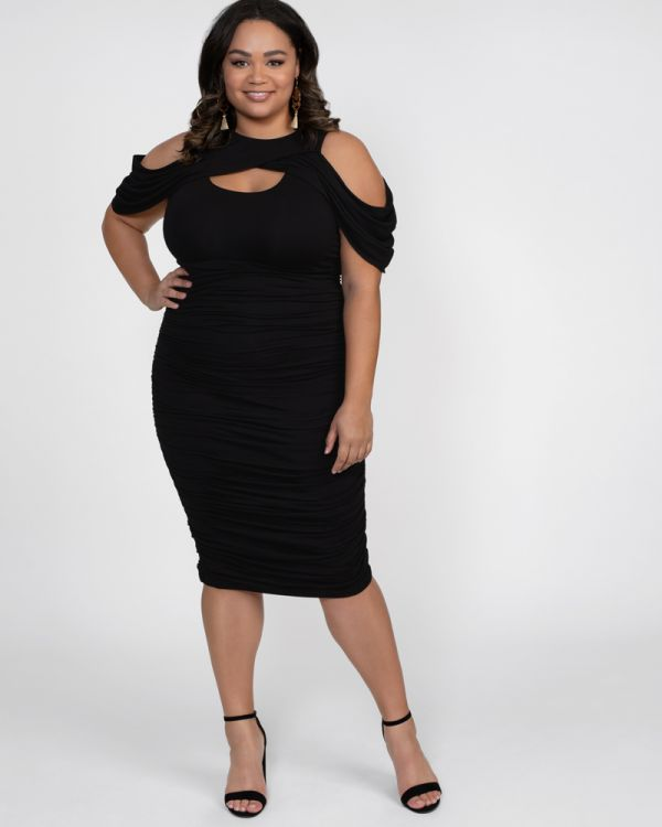 Bianca Ruched Dress | Plus Size Bodycon Dress | Kiyonna