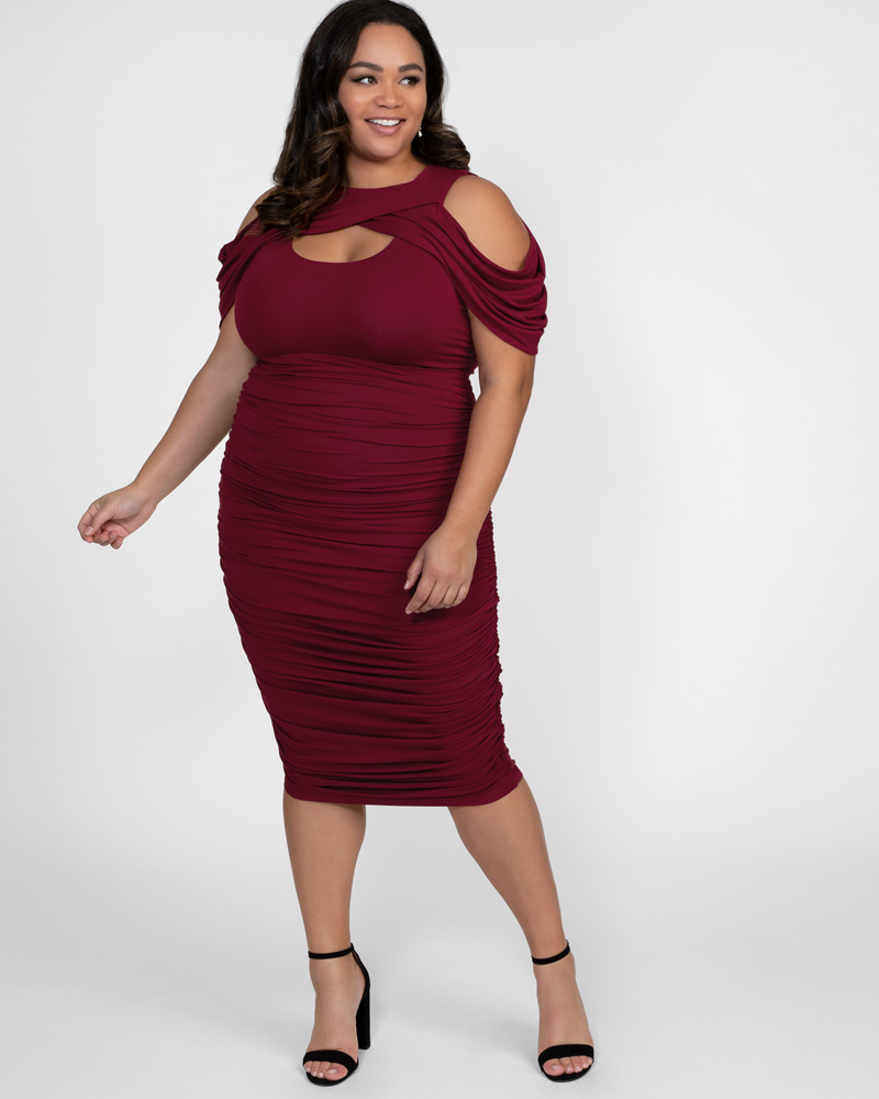Kiyonna Womens Plus Size Bianca Ruched Dress - Sale!