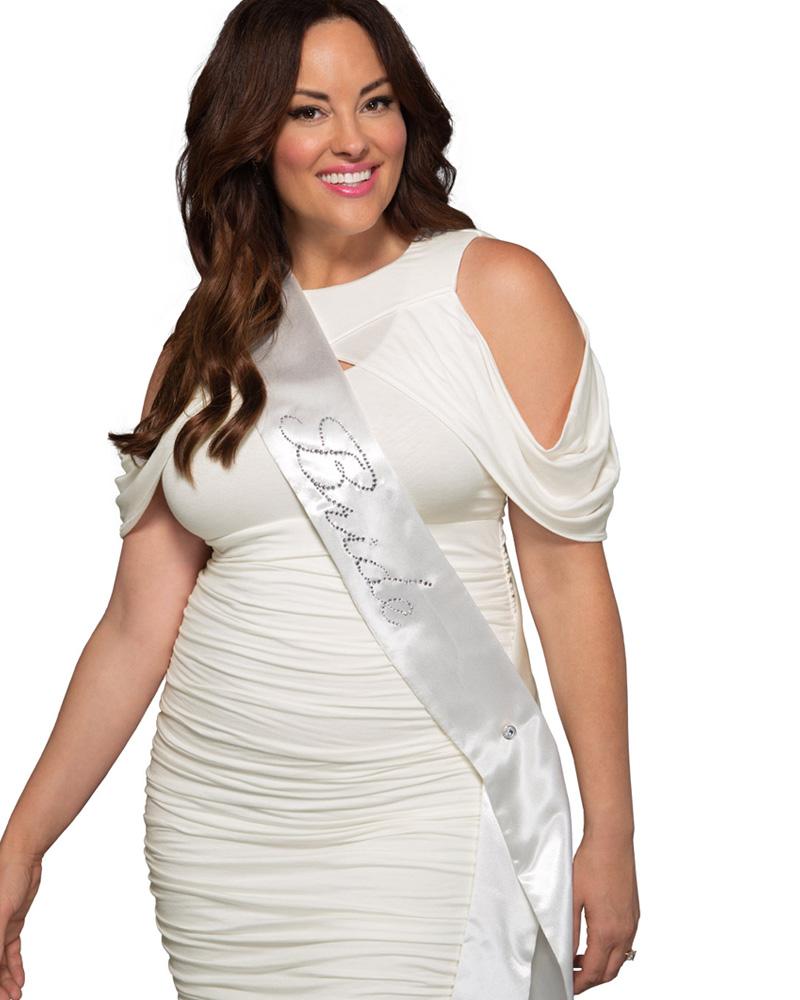 Kiyonna Womens Plus Size Bride-To-Be Sparkle Sash