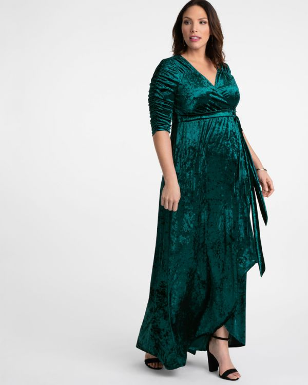 Plus Size Winter Dress | Long Velvet Wrap Dress | Kiyonna