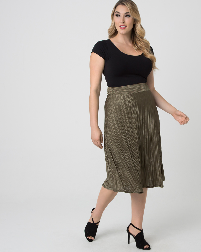 Kiyonna Womens Plus Size A Crinkle In Time Skirt-Sale!