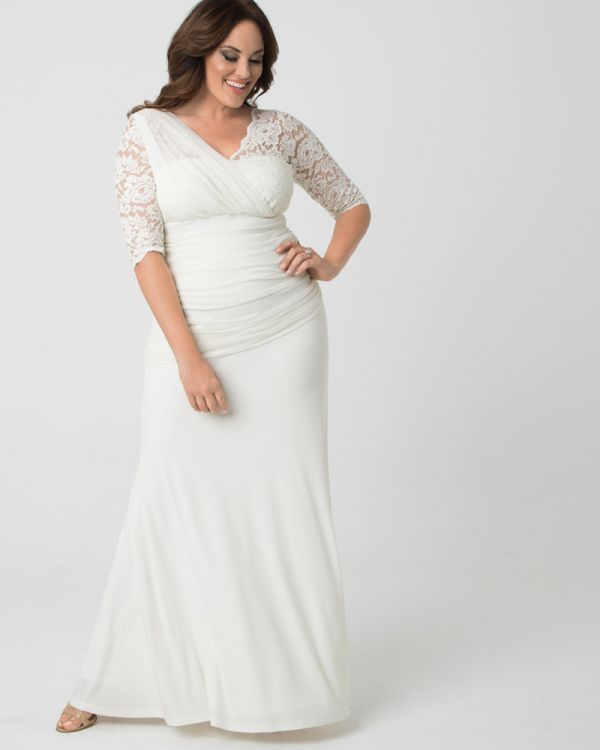 Plus Size Lace Wedding Gown | Half Sleeve Wedding Gown