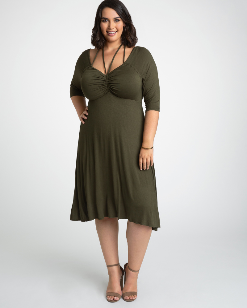 Kiyonna Womens Plus Size Enticing Tie Dress-Sale!