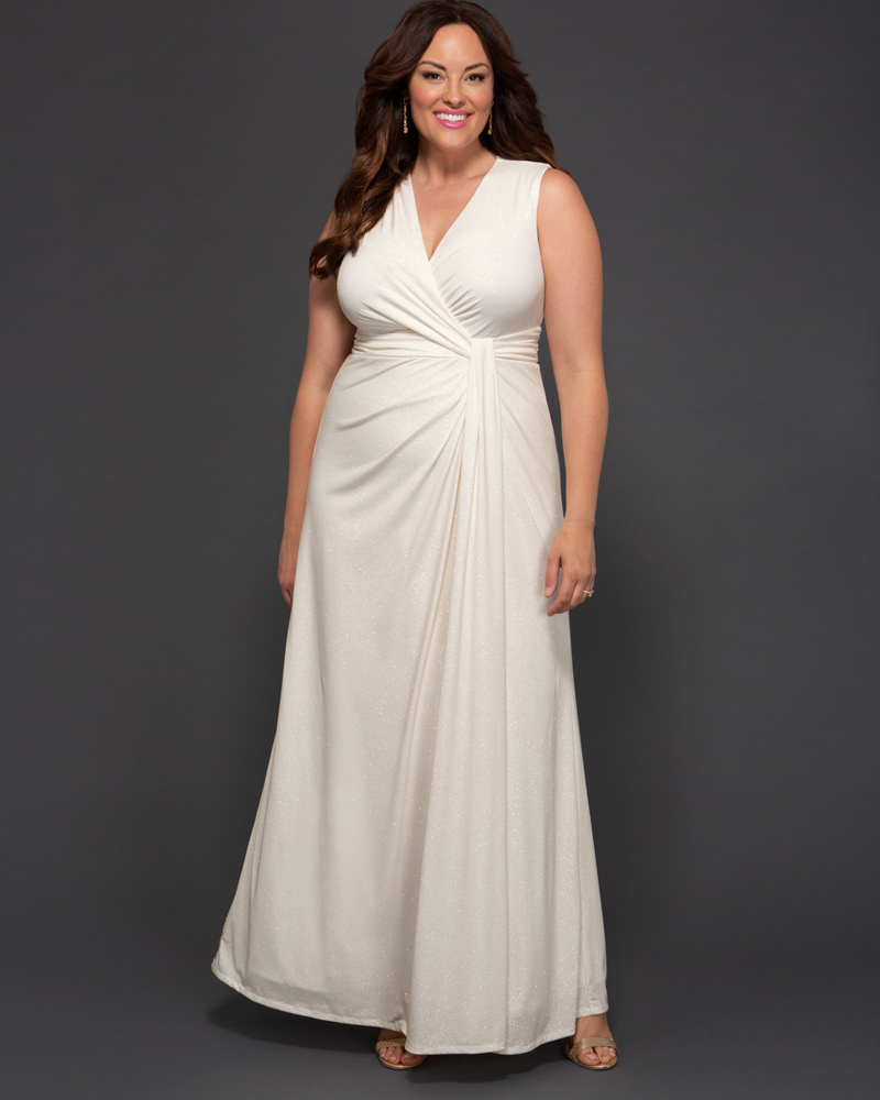 1930s Style Wedding Dresses | Art Deco Wedding Dress Kiyonna Womens Plus Size Gilded by Moonlight Wedding Gown - Sample Sale $198.00 AT vintagedancer.com