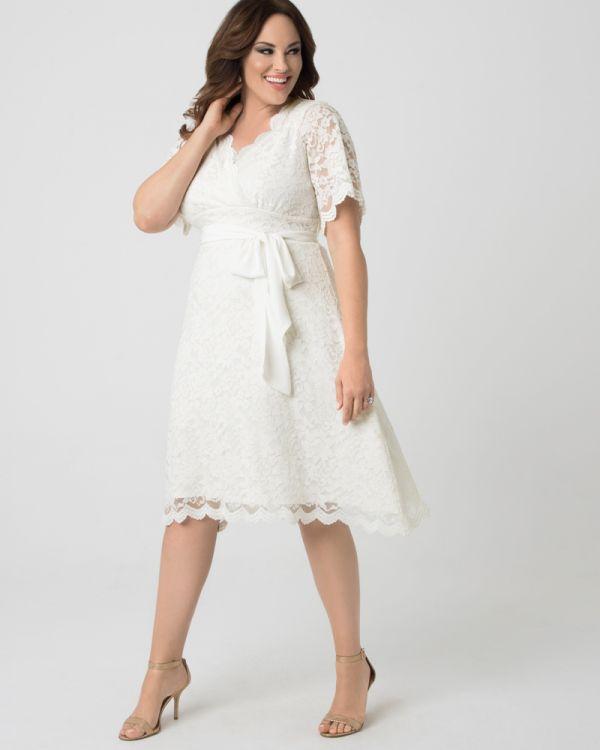 Plus Size Empire Waist Wedding Dress | Midi Bridal Dress