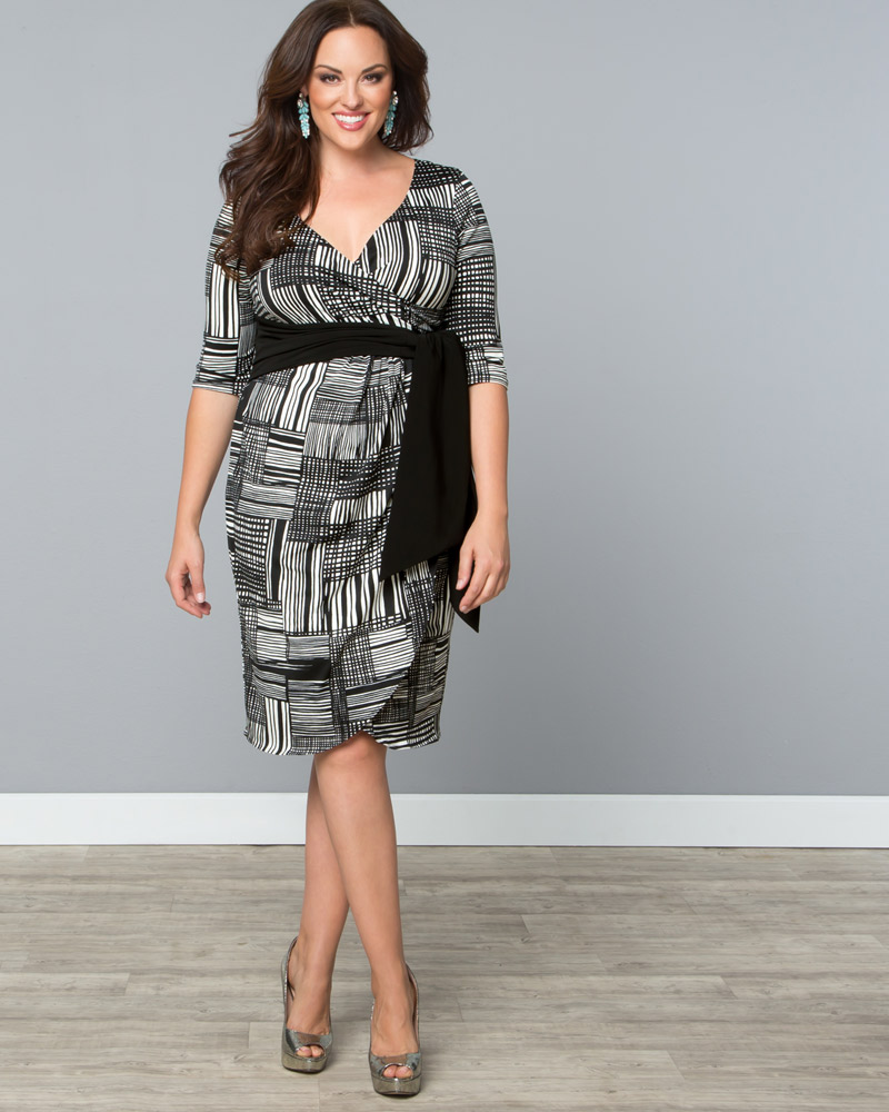 #PLUSSIZECLOTHING,Kiyonna Womens Plus Size Harlow Faux Wrap Dress-Sale!