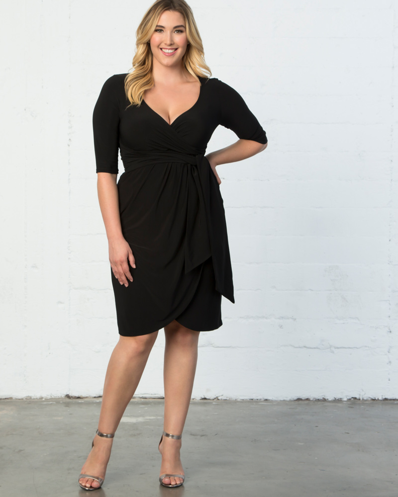 1940s Plus Size Dresses | Swing Dress, Tea Dress Kiyonna Womens Plus Size Harlow Faux Wrap Dress-NA $96.00 AT vintagedancer.com