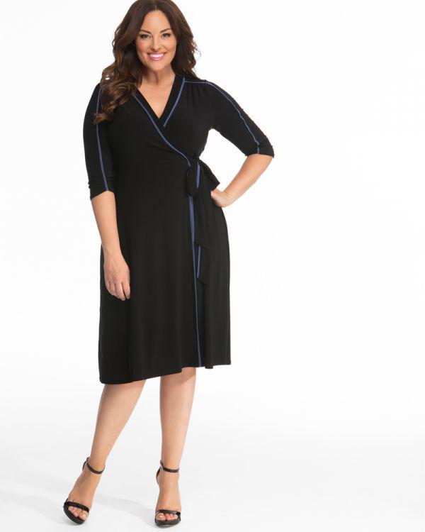Plus Size Polyester Wrap Dress | Professional Wrap Dress