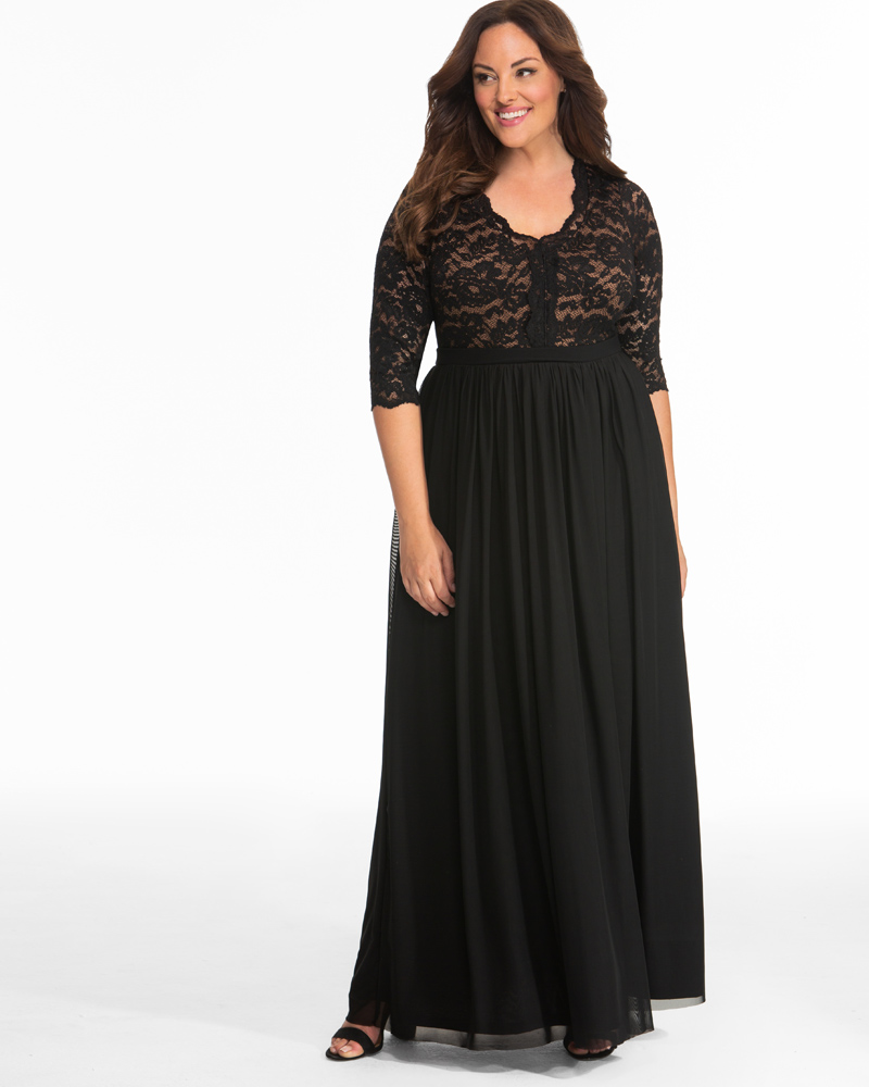 1a97483bc Plus Size Lace Evening Gown | Scalloped Neckline Dress