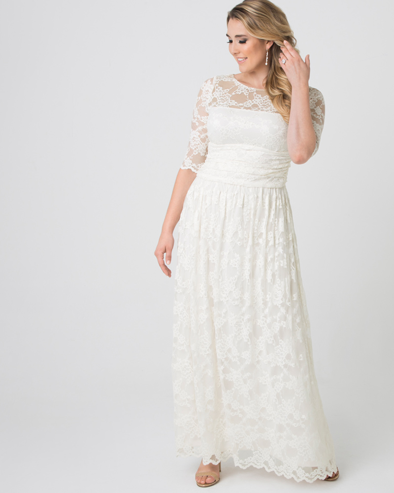 Vintage Evening Dresses Kiyonna Womens Plus Size Lace Illusion Wedding Gown - Sample Sale $144.00 AT vintagedancer.com