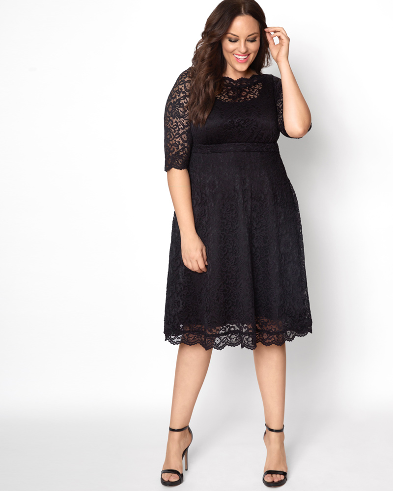 60s 70s Plus Size Dresses, Clothing, Costumes Kiyonna Womens Plus Size Lacey Cocktail Dress $148.00 AT vintagedancer.com