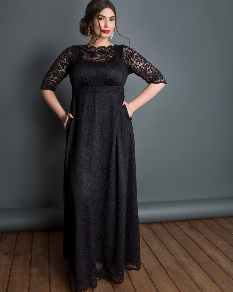 Edwardian Evening Gowns , Ballgowns, Formal Dresses Kiyonna Womens Plus Size Leona Lace Gown $228.00 AT vintagedancer.com
