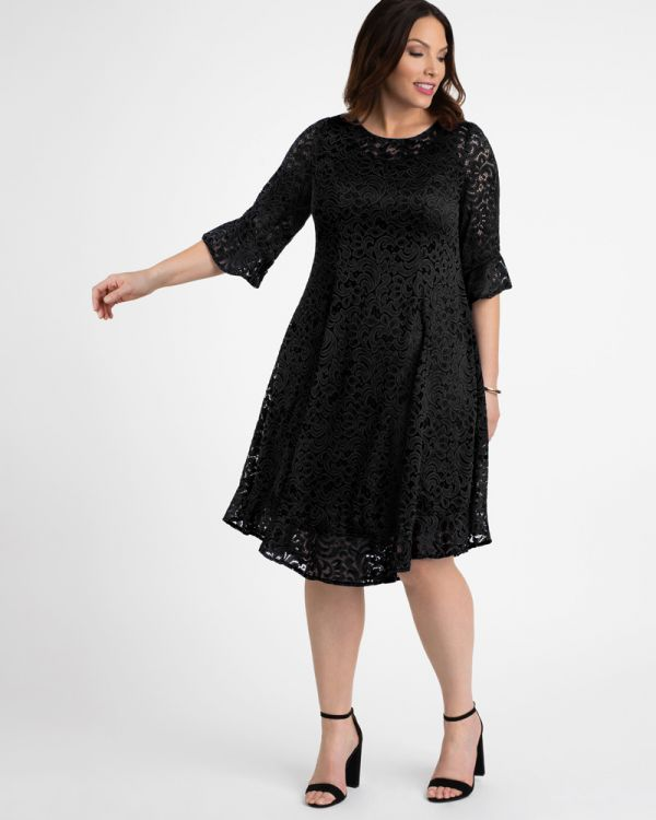 Plus Size Princess Seam Dress | Flounce Sleeve Dress