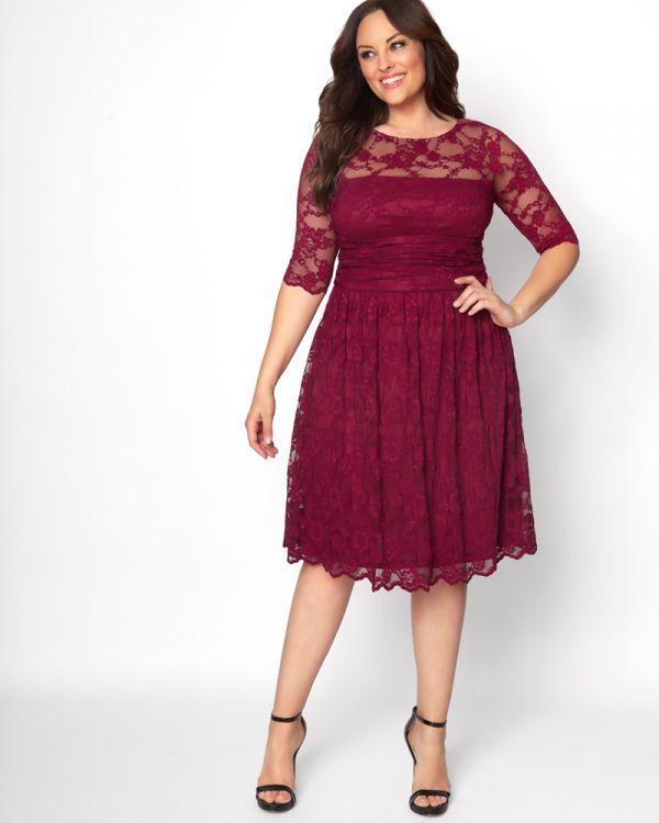 Luna Lace Dress | Plus Size Lace Overlay Dress | Kiyonna