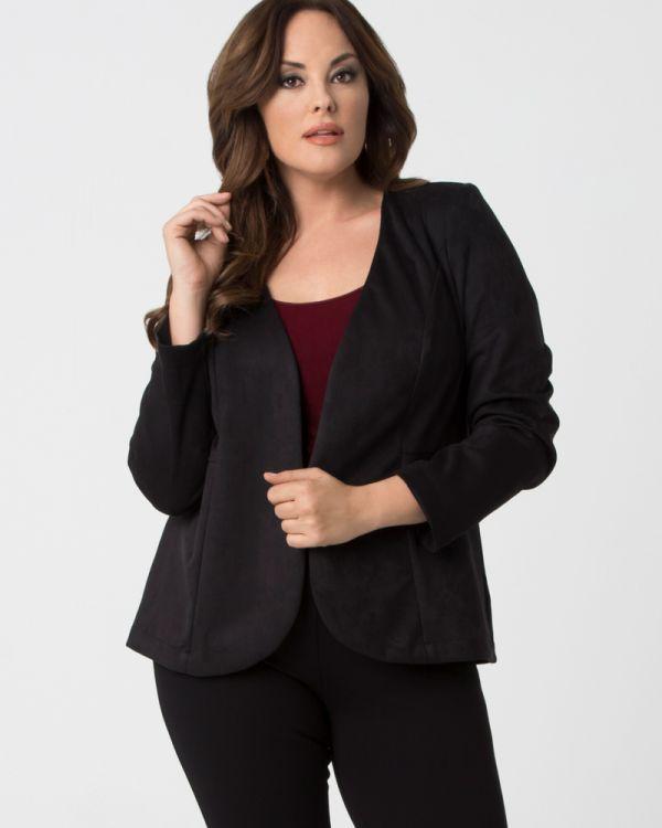 152dcec329 Plus Size Faux Suede Blazer | Women's Business Jacket