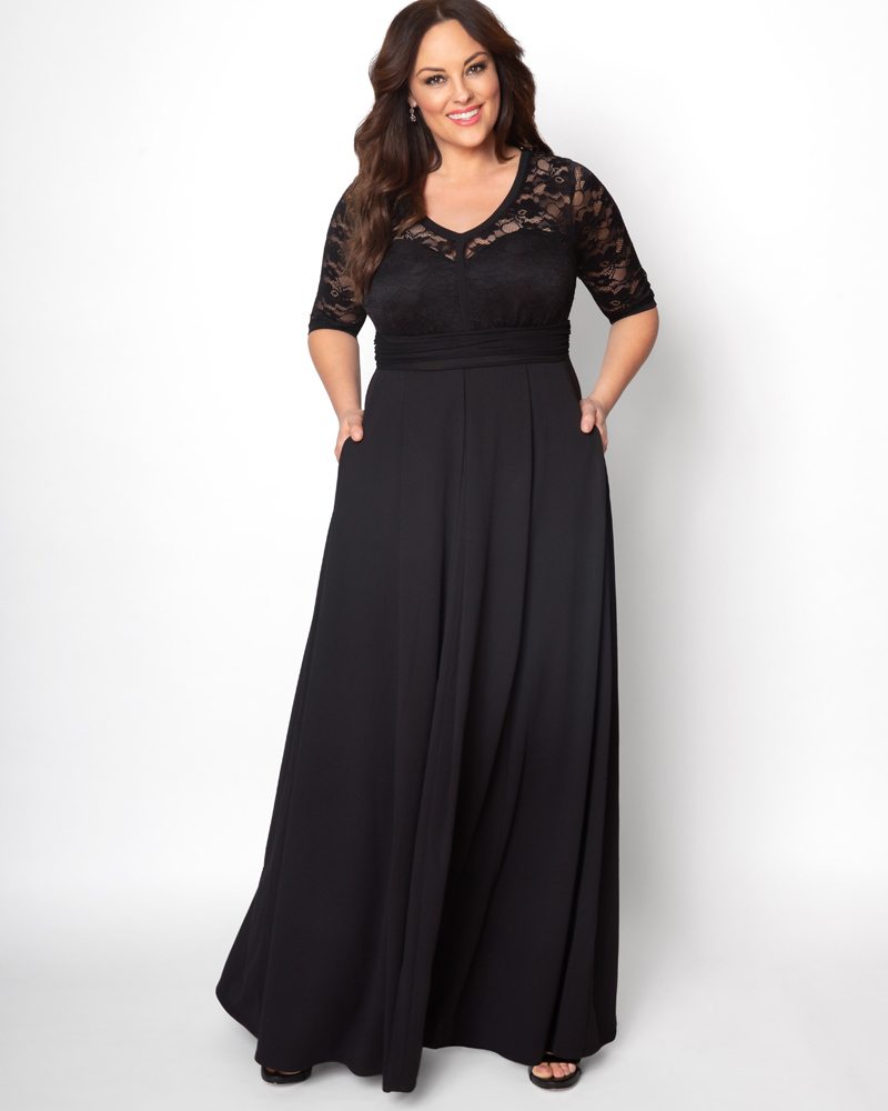 Victorian Plus Size Dresses | Edwardian Clothing, Costumes Kiyonna Womens Plus Size Madeline Evening Gown $188.00 AT vintagedancer.com