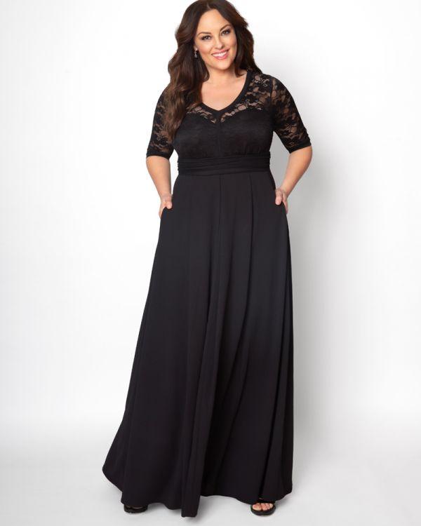 Plus Size Black Gown | Floor Length Black Lace Dress