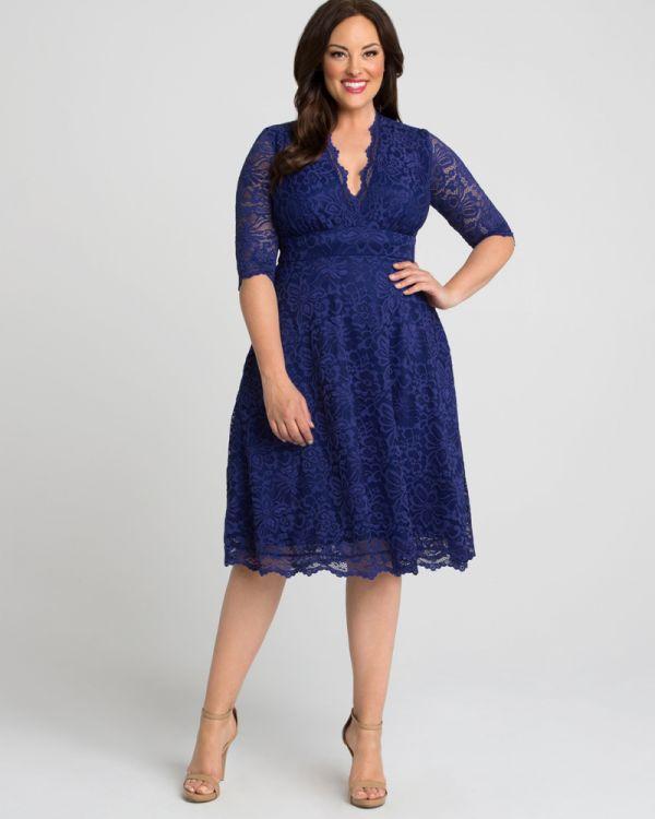 Kiyonna Womens Plus Size Mademoiselle Lace Dress Onyx