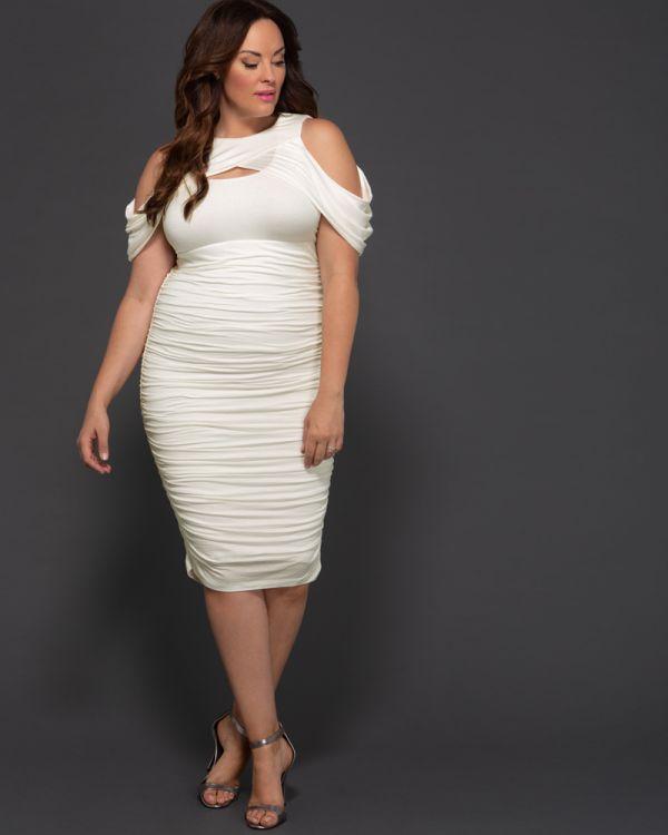 da942450d8c2 Plus Size Bodycon Midi Dress | Porcelain White Cocktail Dress