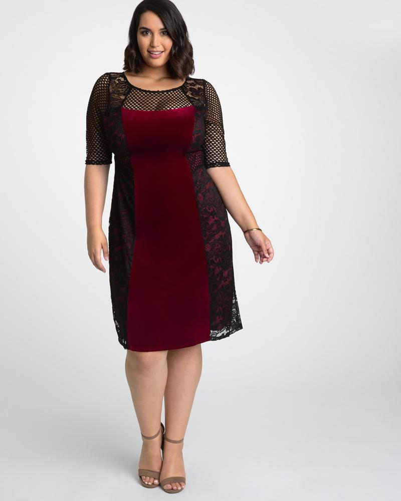 636211f898cbd Plus Size Velvet Dress | Mesh, Velvet & Lace Cocktail Dress