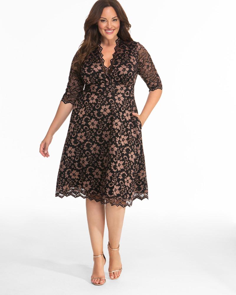 Vintage Cocktail Dresses, Party Dresses, Prom Dresses Kiyonna Womens Plus Size Mon Cherie Lace Dress $168.00 AT vintagedancer.com