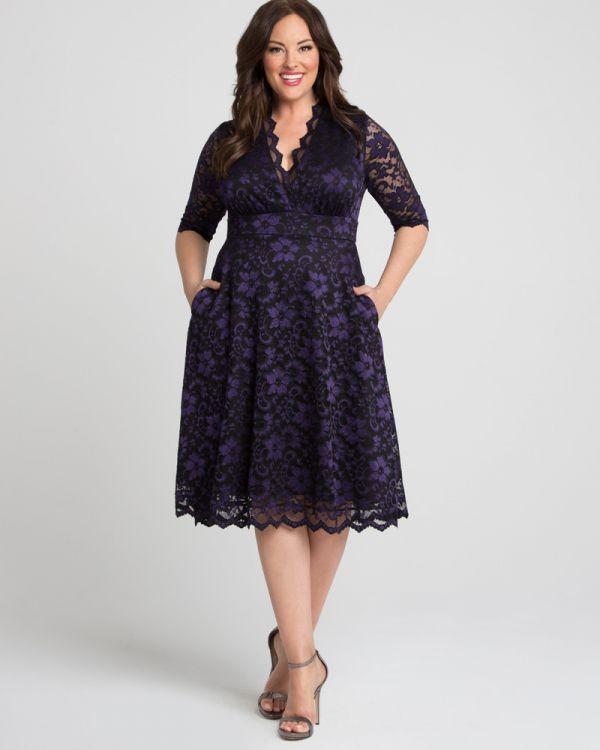 Floral Lace Dress Plus Size | Lace Dress with Pockets