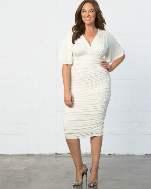 51846af58da Plus Size Surplice Neckline Dress