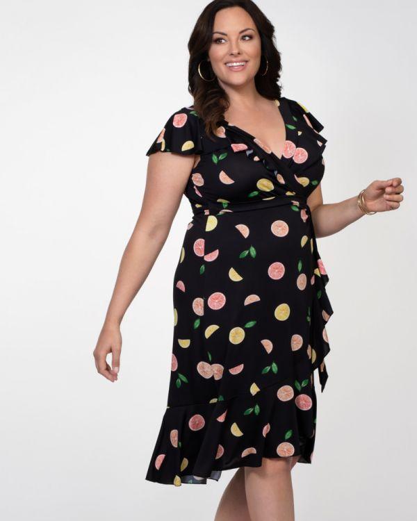 Plus Size Sleeveless V-Neck Dress | Floral Wrap Dress Plus Size