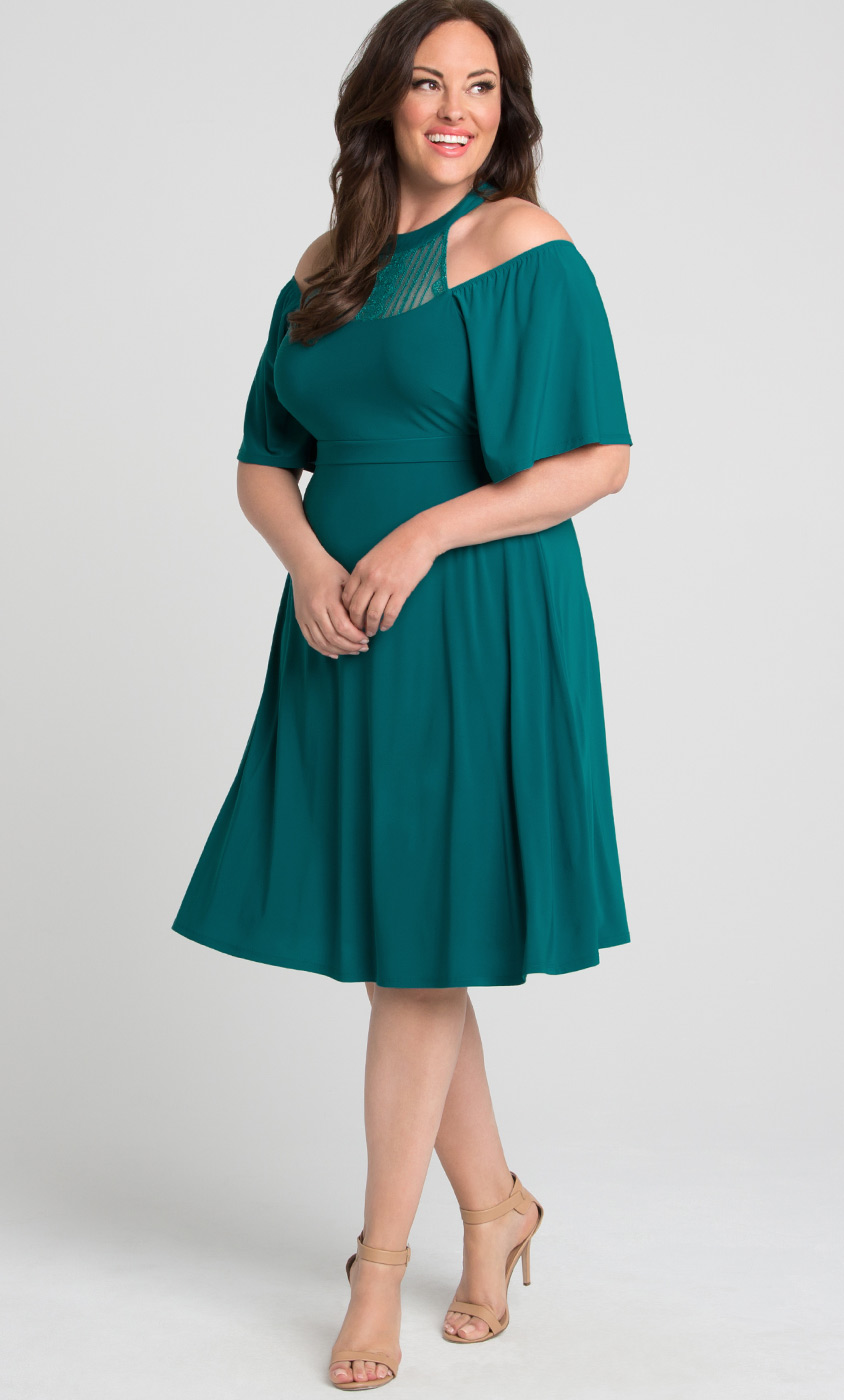Plus Size Flowy Dress | Mock Neck A-Line Dress | Kiyonna