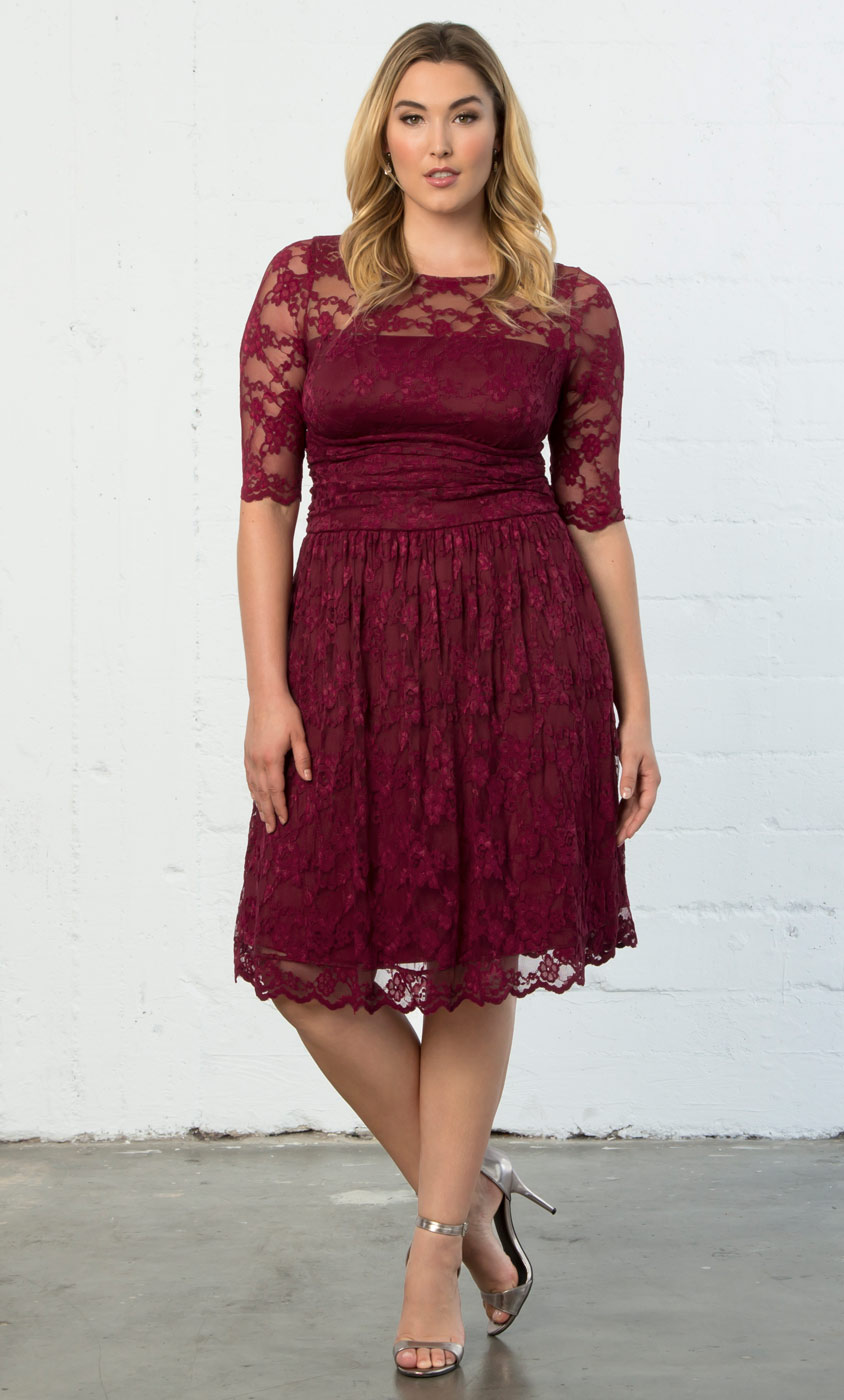 Luna Lace Dress Plus Size Lace Overlay Dress Kiyonna
