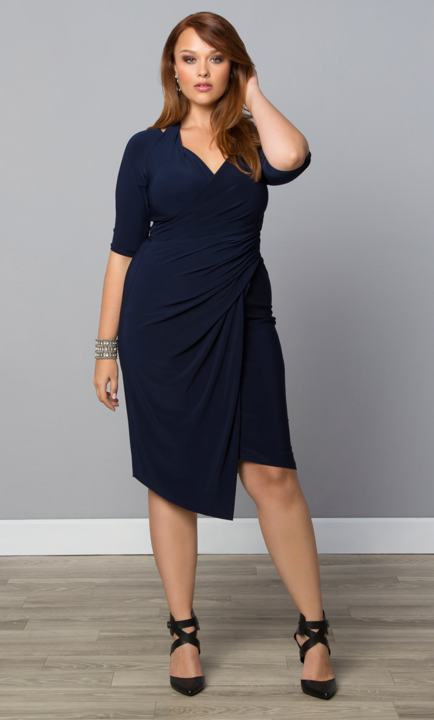 Foxfire Faux Wrap Dress: Kiyonna Clothing