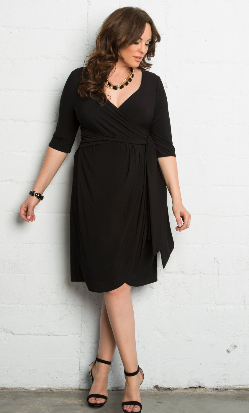 Harlow Faux Wrap Dress-Sale!: Kiyonna Clothing