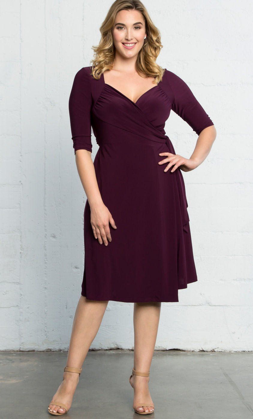 Sweetheart Knit Wrap Dress: Kiyonna Clothing