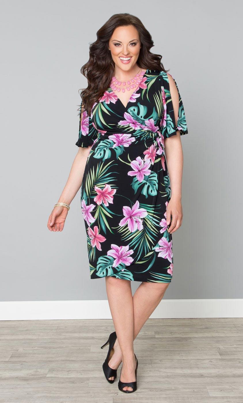 Plus Size Tropical Print Dress Cold Shoulder Faux Wrap Dress