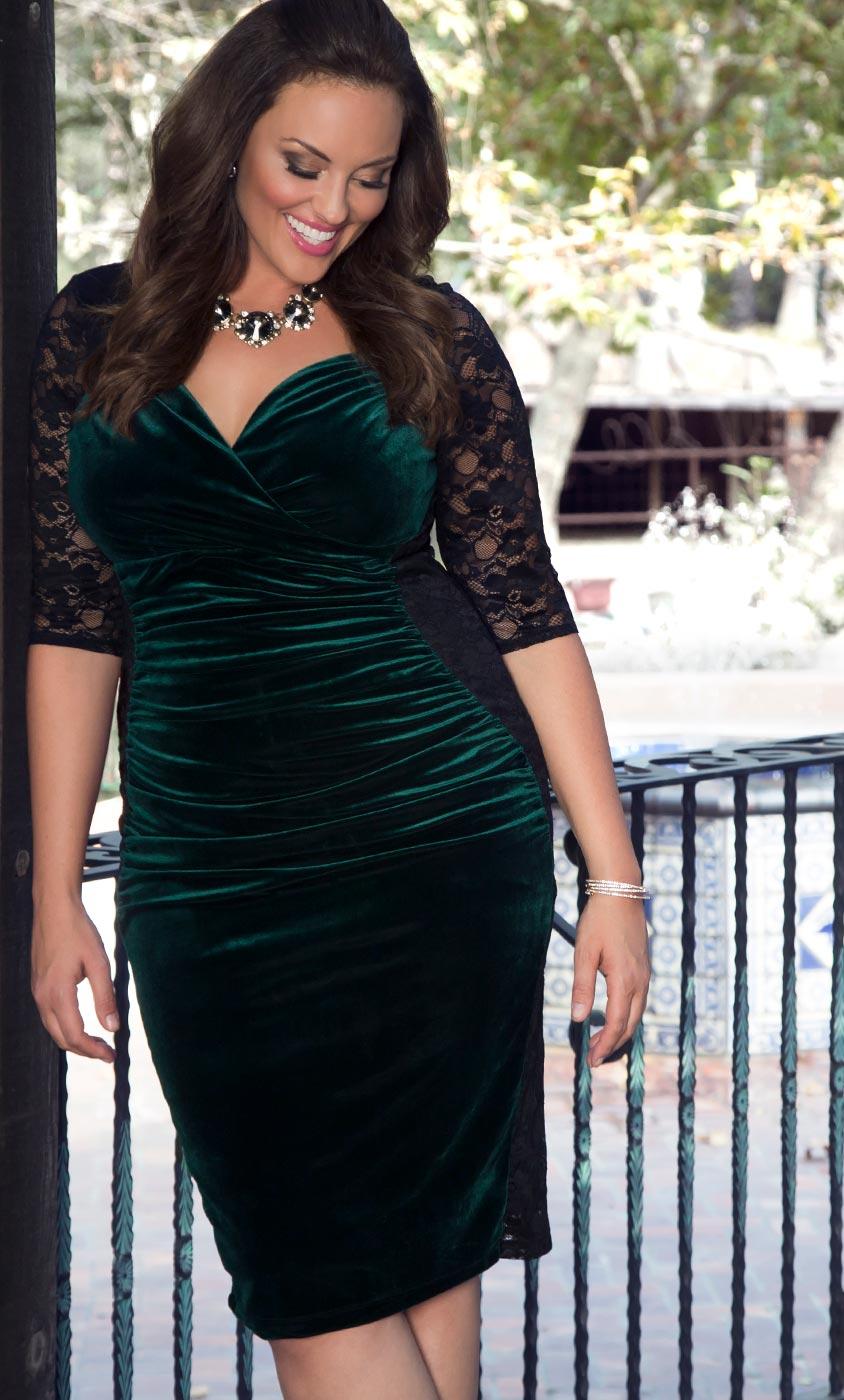 Plus size velvet dress hourglass lace dress for Wedding dress for plus size hourglass