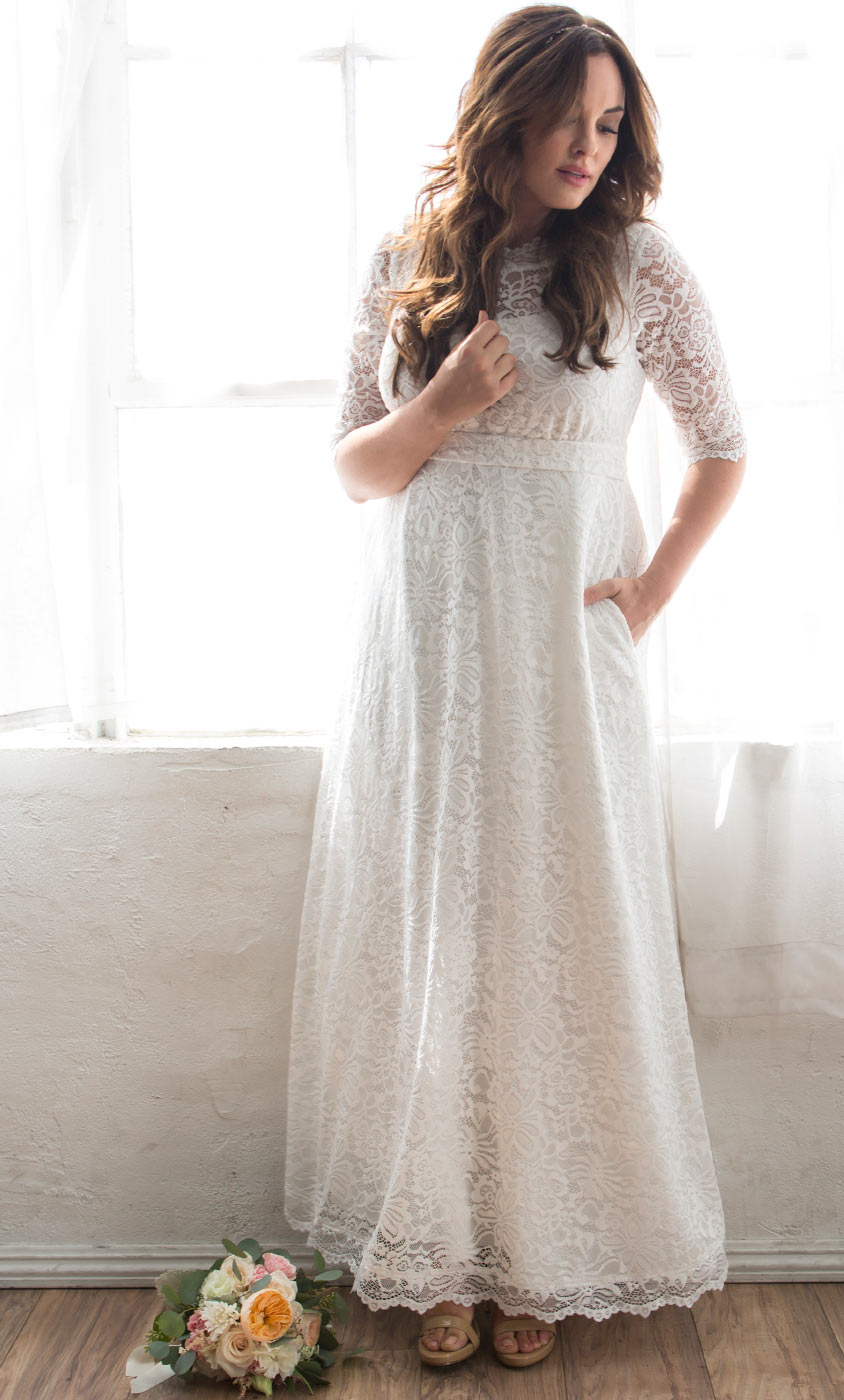 Plus Size Wedding Dress with Pockets | Stretch Lace Wedding Gown
