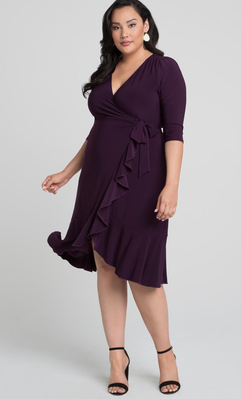 Whimsy Wrap Dress Plus Size Midi Wrap Dress