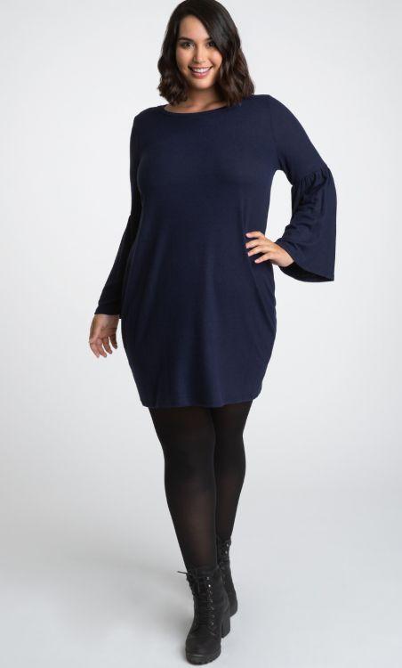 Plus Size Flare Sleeve Sweater Dress | Navy Blue Sweater Dress